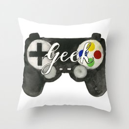 Hand Painted Watercolor Geek Game Controller Throw Pillow