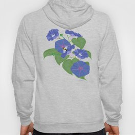 Glory Bee - Vintage Floral Morning Glories and Bumble Bees Hoody