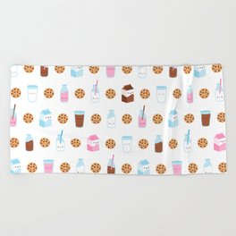 Milk and Cookies Pattern on White Beach Towel