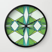 emerald Wall Clocks featuring Emerald by Tess Ellis