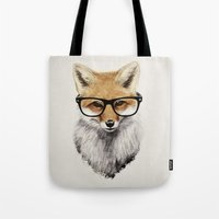 live Tote Bags featuring Mr. Fox by Isaiah K. Stephens