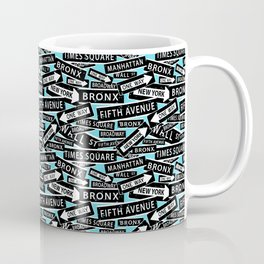 New York Street Signs Typographic Pattern Coffee Mug