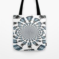 dalek Tote Bags featuring Dalek by Natasha Lake