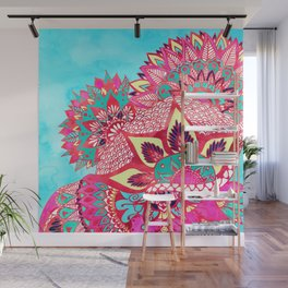 Bohemian boho red blue floral paisley pattern Wall Mural