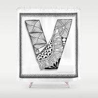 vendetta Shower Curtains featuring Zentangle V Monogram Alphabet Illustration by Vermont Greetings