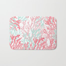 Modern hand painted coral pink teal reef coral floral Bath Mat