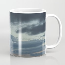 Storm Clouds Santa Barbara Beach With Flying Shore Birds Coffee Mug