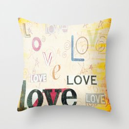 Yellow Lover Vintage Stationery Throw Pillow