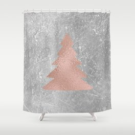 Industrial rose christmas - tree Shower Curtain