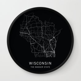 Wisconsin State Road Map Wall Clock