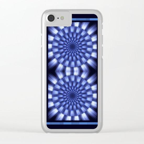 Round blue / white winter pattern design Clear iPhone Case