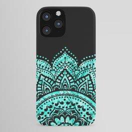 Black teal mandala iPhone Case