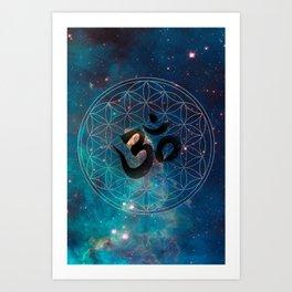 Om & Flower of Life Art Print