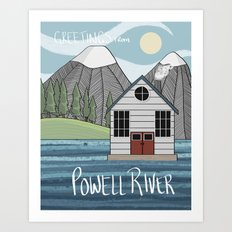 Greetings from Powell River w/Text Art Print