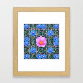 PINK  ROSE & BLUE MORNING GLORIES  BOTANICAL ART Framed Art Print