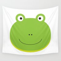 frog Wall Tapestries featuring Frog by Ilona
