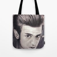 garfield Tote Bags featuring Garfield smoulder by Lauren Elena