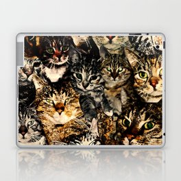 cat collage our beloved kitten cats watercolor splatters Laptop & iPad Skin
