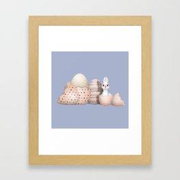 Kawaii Easter - Bunny hatching from Golden Colored Easter Eggs - light blue background Framed Art Print