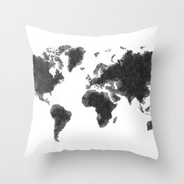 World Map Black Sketch, Map Of The World, Wall Art Poster, Wall Decal, Earth Atlas, Geography Map Throw Pillow