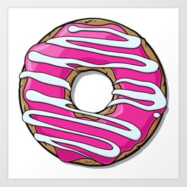 Donut with Frosting and Icing - Pink White Art Print