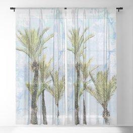 Tropical Palm trees Sheer Curtain