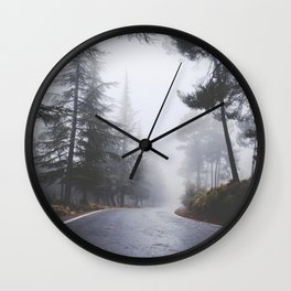 Dream forest. Square. Into the foggy woods Wall Clock