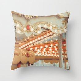 Details of a vintage carousel. Retro toned. Throw Pillow