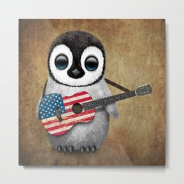 Baby Penguin Playing American Flag Acoustic Guitar Metal Print