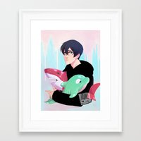 iwatobi Framed Art Prints featuring plushies by JohannaTheMad