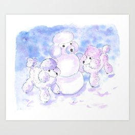 Poodles in Snow Art Print