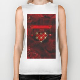 Wonderful elegant decoative heart Biker Tank