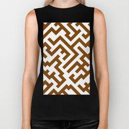 White and Chocolate Brown Diagonal Labyrinth Biker Tank