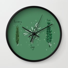 Rosemary Sage and Thyme Wall Clock