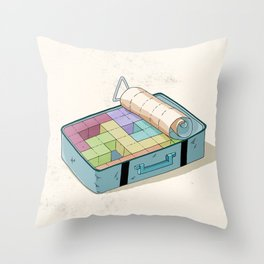 Preparing luggage Throw Pillow