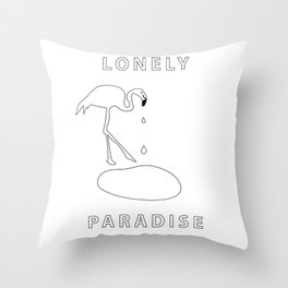 flamingo lonely paradise Throw Pillow