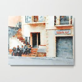 Old men sitting on the street Metal Print