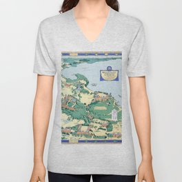 WELLESLEY College map MASSACHUSETTS dorm decor graduate Unisex V-Neck