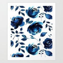 Blue Flowers Art Print