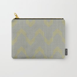 Simply Deconstructed Chevron Mod Yellow on Retro Gray Carry-All Pouch
