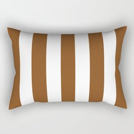 Russet brown - solid color - white vertical lines pattern Rectangular Pillow