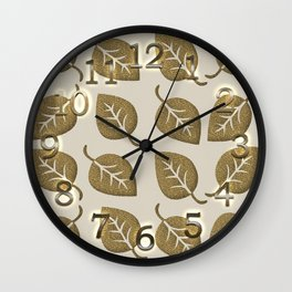 Gold Leaf Pattern Wall Clock