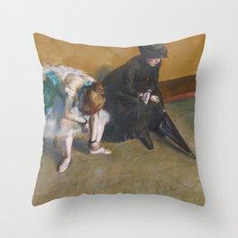 Waiting by Edgar Degas Throw Pillow