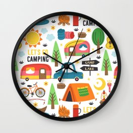 Let's Go Camping Retro Vintage Pattern Wall Clock