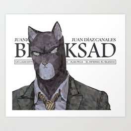 Polygonal Cat - Blacksad Art Print