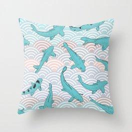 Koi carp. Blue fish. Asian wave circle background Throw Pillow
