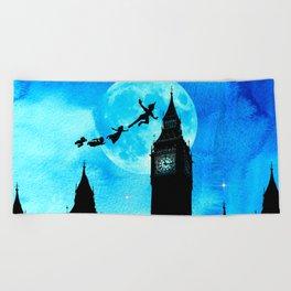 Magical Watercolor Night - Peter Pan Beach Towel