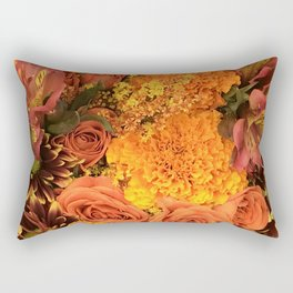 Autumn Floral Bouquet in Bright Orange and Golds Rectangular Pillow