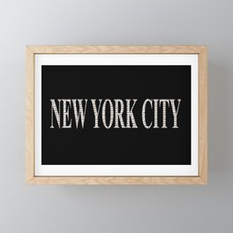 New York City (type in type on black) Framed Mini Art Print