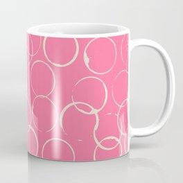 Circles Geometric Pattern Pink Antique White Coffee Mug